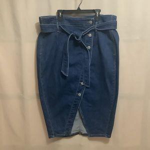 Addition Elle Premium Denim button front pencil denim skirt with belt